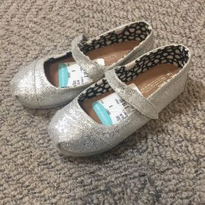Toms Silver Sparkle Girls Mary Janes